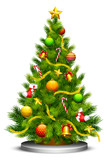 vector illustration of decorated Christmas tree against white - 44425824