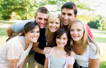Large family together outside
