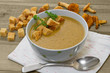 Chanterelle soup puree served with croutons