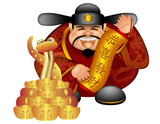 2013 Chinese Money God With Snake And Scroll Wishing Prosperity