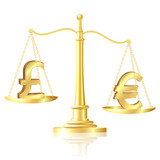 Euro outweighs pound sterling on scales. poster