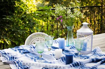 Celebration table layout on terrace