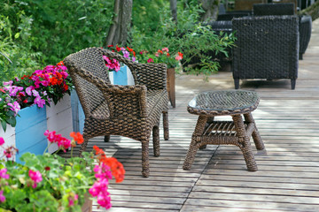 Rattan patio chair and table