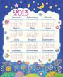 Calendar for 2013. Children applique flowers