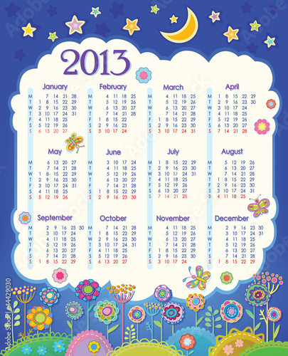 Calendar for 2013. Week starts on Monday