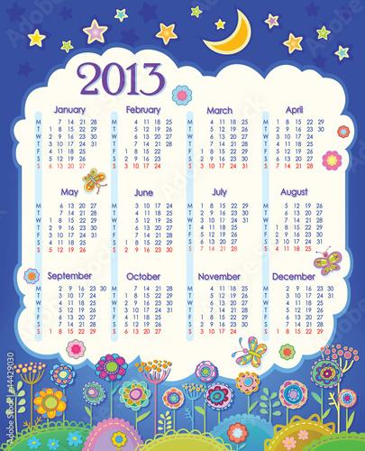 Calendar for 2013. Week starts on Monday