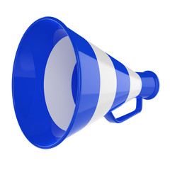 3D Bullhorn... Retro megaphone in a blue and white colors