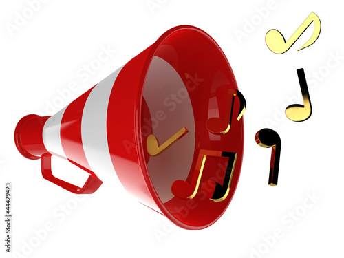 3D red megaphone with music notes isolated on the background