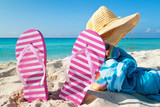 Fototapety Accessories for holidays on Caribbean beach