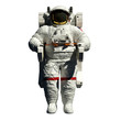 canvas print picture - spacewalking astronaut - 3d illustration front view on white