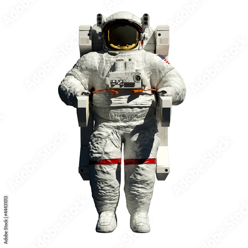 canvas print picture spacewalking astronaut - 3d illustration front view on white
