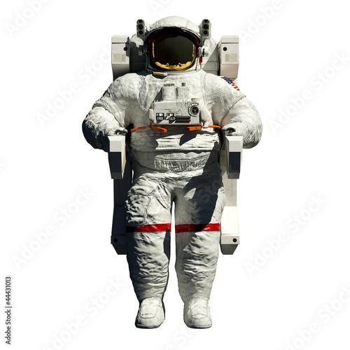 Leinwanddruck Bild spacewalking astronaut - 3d illustration front view on white