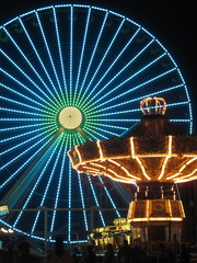 Ferris Wheel and Carousel in Amusement Park on the Jersey Shore