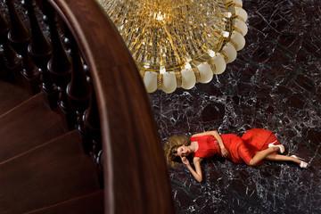 Girl on the marble floor