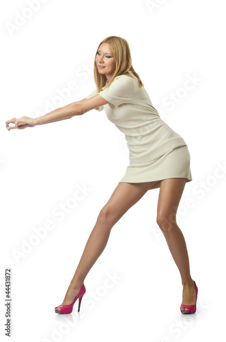 Woman in various poses in studio