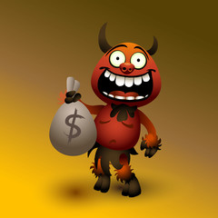 Fanny red devil with money.