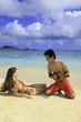 polynesian man shows girl how to play ukulele