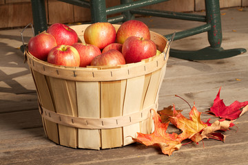 Shiny red apples fill a bushel basket