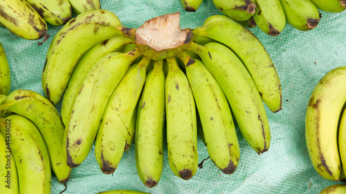 Green banana for sale on a Vietnamese market
