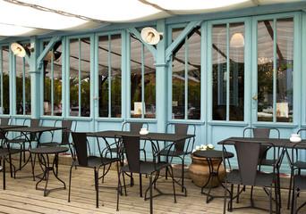 Terrasse, café, bistrot, restaurant, bois, mobilier, cabane