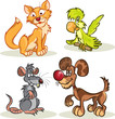 cat, dog, rat, parrot