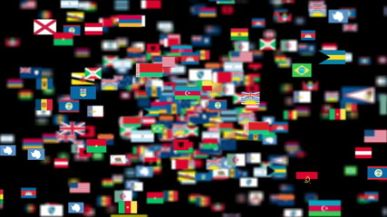 Flags of the World flying towards the camera, DOF, Alpha