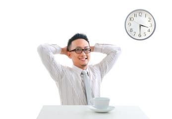 asian man having tea break
