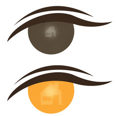 Home icon on expression of eye