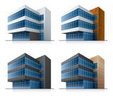 Fototapety Four vector office buildings. EPS10 vector file.