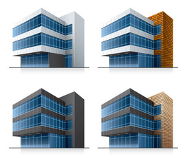 Four vector office buildings. EPS10 vector file.