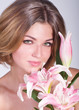 Beautiful woman portrait with flowers