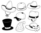 Hat black and white set