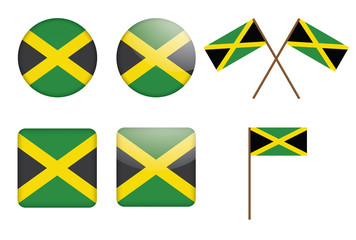 set of badges with flag of Jamaica vector illustration