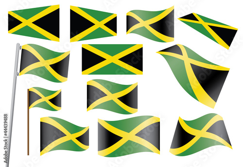 set of flags of Jamaica vector illustration