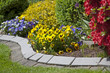 Landscaped flower garden with colorful blooms