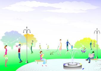 公園 人々