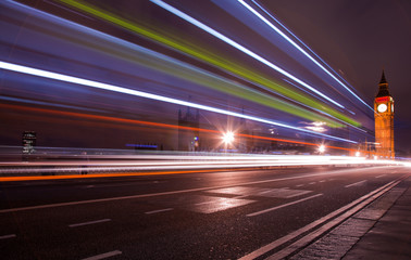 Traffic over the Westminster Bridge blurred by long exposure