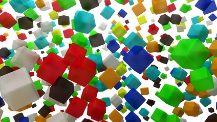 cubi 3d smussati colorati caos entropia bokeh