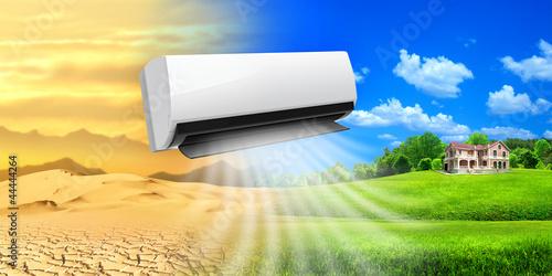 Leinwanddruck Bild Air conditioner. Comfortable life