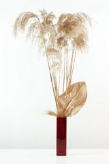 decorative vase with dry cane sticks