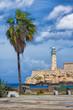 Vertical view of the castle of El Morro in Havana