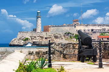 The castle of El Morro in Havana with an old cannon