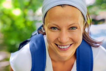 backpacker girl smile close up