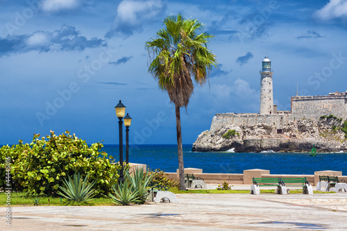 The castle of El Morro in Havana and a nearby park