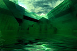 abstract afloat green architecture space