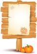 Halloween signboard with pumpkin