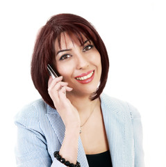 Smiling lady talking on cell phone