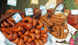 sausages for sale on christmas  market in Krakow on Main Square