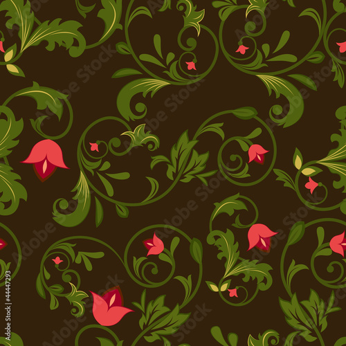 Dark floral seamless background with red flowers