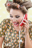 Woman Screaming While Holding Retro Phone